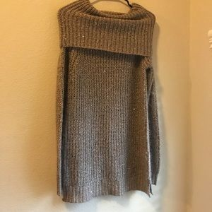 Off the shoulder brown sweater